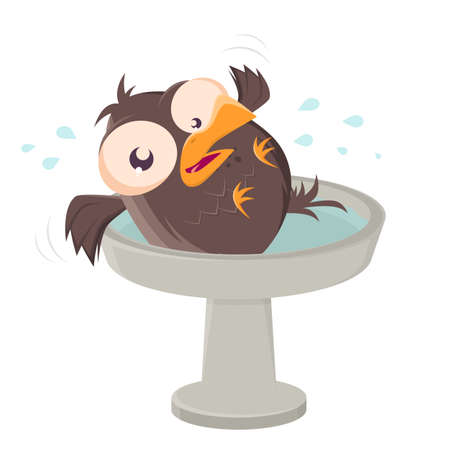 funny cartoon bird having fun in bird bath