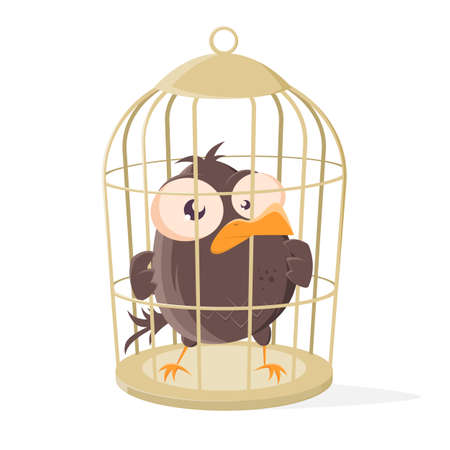 funny cartoon bird is locked in a bird cage