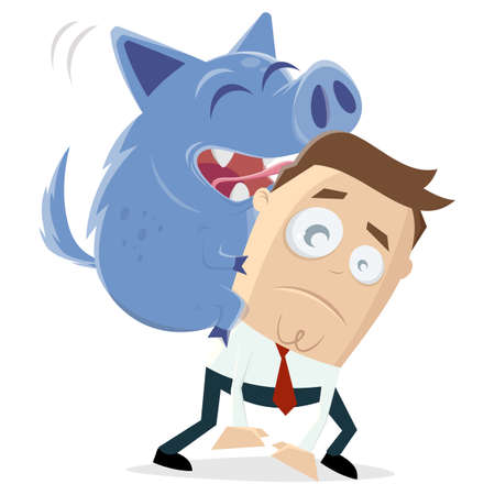 cartoon illustration of a businessman and his inner pig dog
