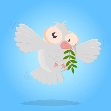 funny dove of peace cartoon illustration