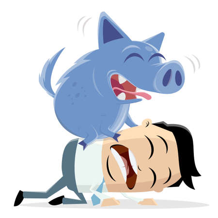 cartoon illustration of an asian businessman and his inner pig dog Illustration
