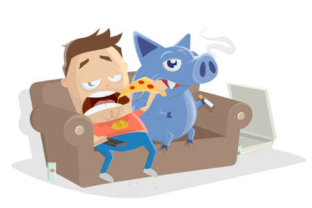 lazy cartoon man sitting on the sofa eating pizza with his inner pig dog