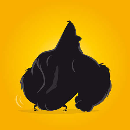 funny cartoon gorilla from behind vector illustration