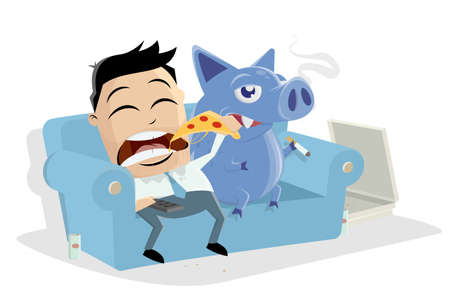 lazy asian businessman sitting on the sofa eating pizza with his inner pig dog