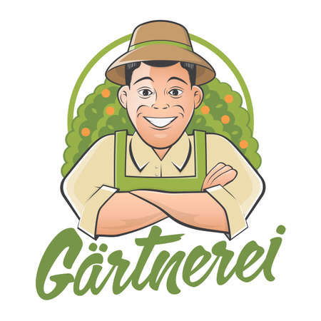 gardener cartoon with German text that means gardening