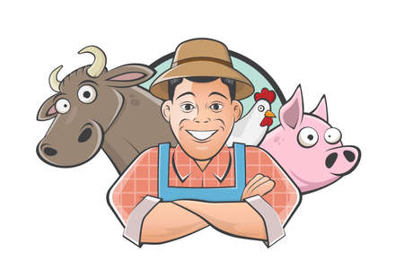 funny farmer   cartoon illustration
