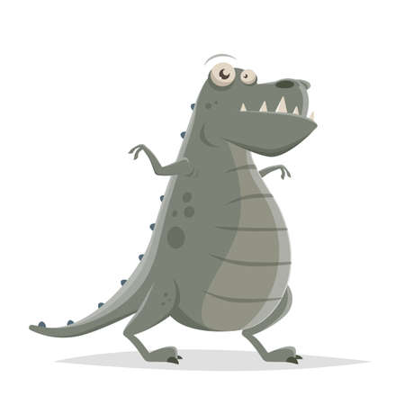 funny cartoon illustration of a dinosaur