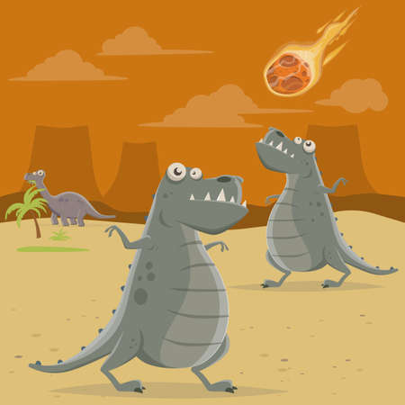 cartoon illustration of a big asteroid falling down on dinosaurs