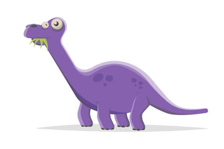 funny purple cartoon dinosaur eating plants
