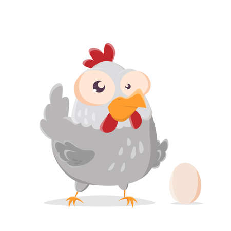 funny cartoon illustration of a chicken with an egg