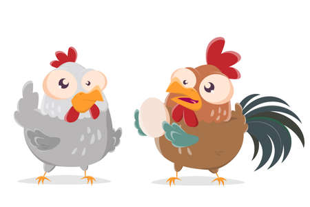 funny cartoon illustration of a rooster giving an egg to a chicken
