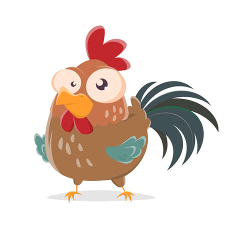 funny cartoon illustration of a rooster Illustration