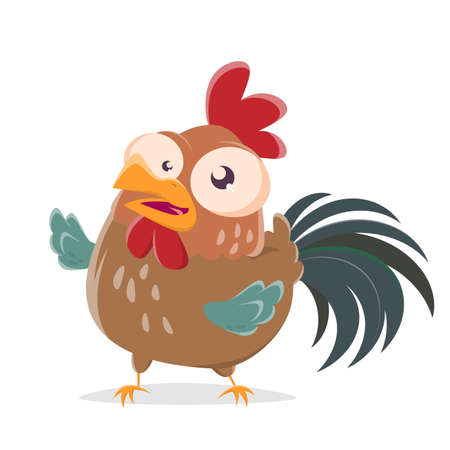 funny cartoon illustration of a happy rooster