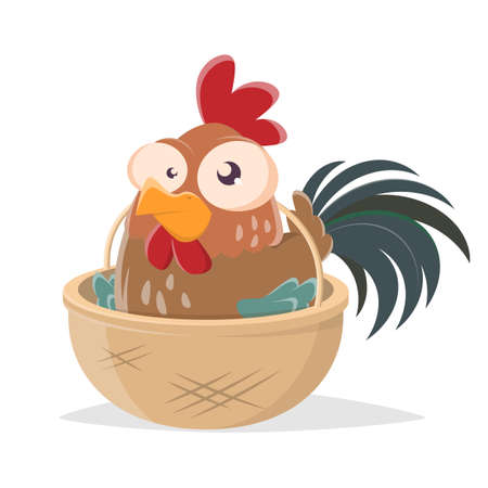 funny cartoon illustration of a rooster in a basket Vecteurs