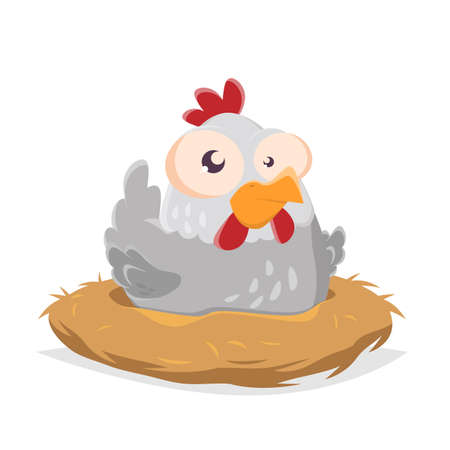 funny cartoon illustration of a hen in a nest