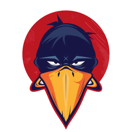 angry cartoon bird in a badge vector illustration Illustration