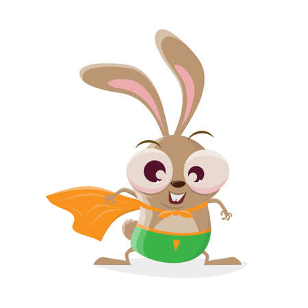 funny cartoon rabbit in superhero costume Illustration
