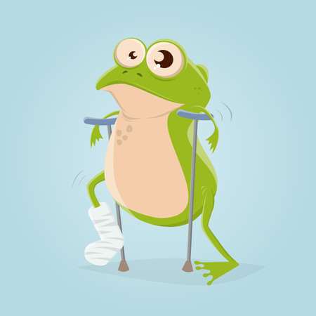 funny cartoon illustration of a frog with broken leg Illustration