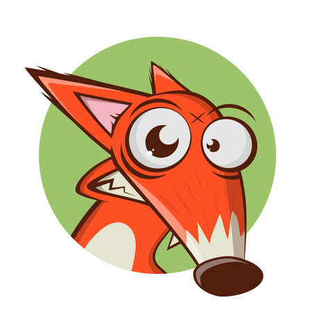 funny cartoon illustration of a fox in a badge