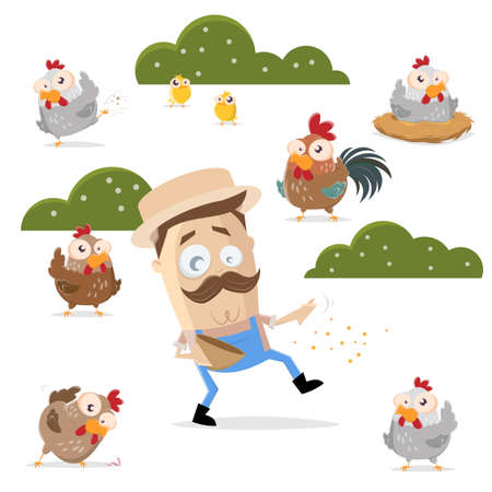 cartoon illustration of a farmer feeding his chickens Illustration
