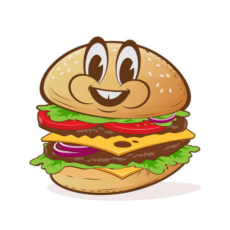 cartoon illustration of a delicious burger with happy face Illustration