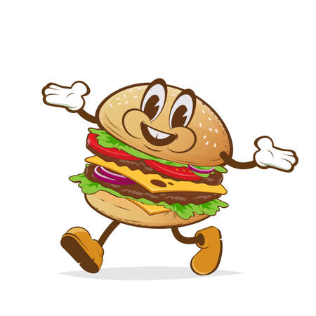 cartoon illustration of a walking burger with happy face