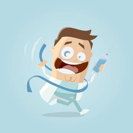 happy doctor reaching vaccination finish line Illustration