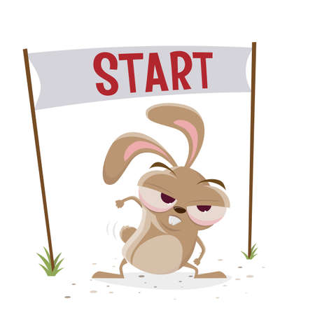 funny cartoon rabbit is ready to start Illustration