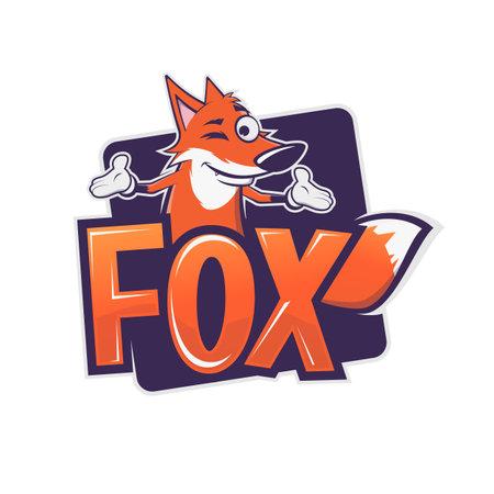 funny cartoon fox   vector illustration