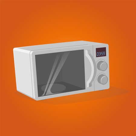 retro cartoon illustration of a microwave oven Illustration