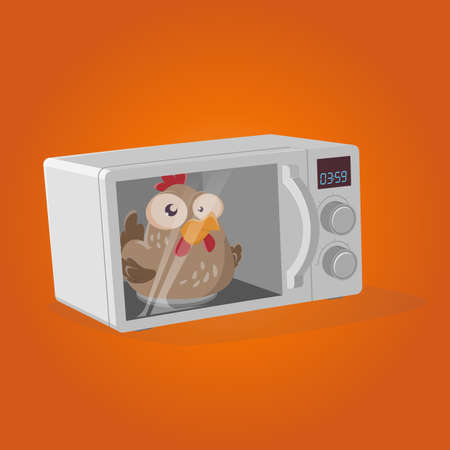 retro cartoon illustration of a chicken in a microwave oven Illustration
