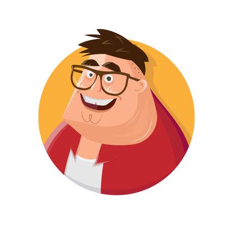 cartoon illustration of a happy overweight man