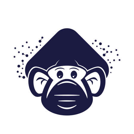 modern illustration of a cartoon ape with mouth protection surrounded by viruses