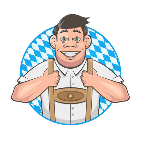 cartoon   of a handsome bavarian man