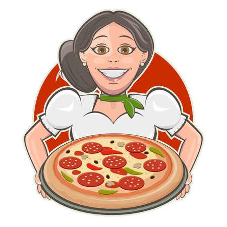 italian girl serving delicious pizza cartoon