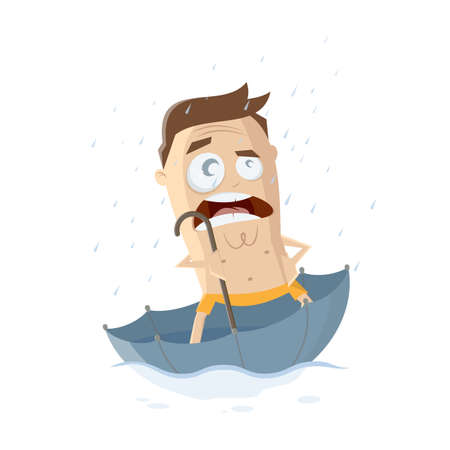 angry cartoon man floating in an umbrella because of a rainy summer Illustration