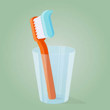 cartoon illustration of a toothbrush in a glass