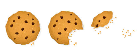 funny cartoon collection of a bitten cookie in different states Illustration