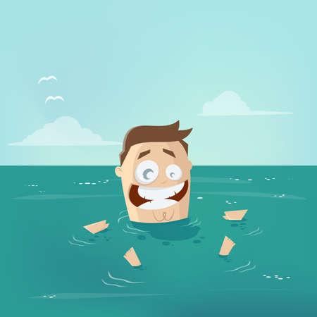 funny cartoon man floating in water