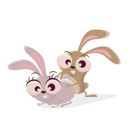 funny cartoon rabbits getting surprised