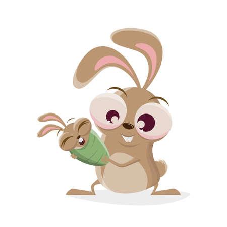 funny cartoon rabbit with a bunny baby