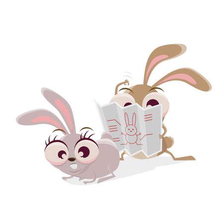 funny cartoon rabbit reading a manual