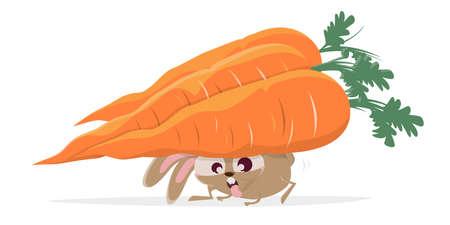 funny cartoon rabbit carrying big carrots Illustration