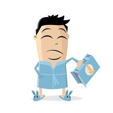 sad cartoon man with empty box of corn flakes