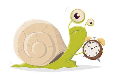 funny cartoon snail with alarm clock
