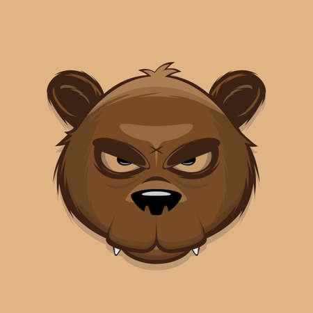 angry cartoon illustration of a brown bear head