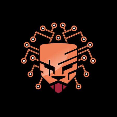 orange lion head and shield technology
