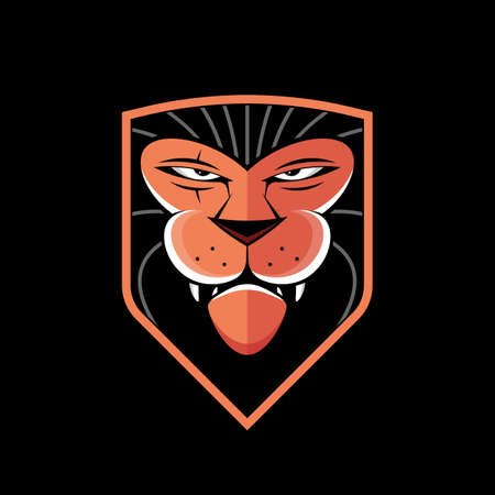 orange lion head and shield