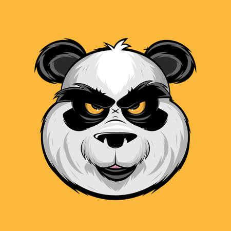angry panda bear cartoon illustration