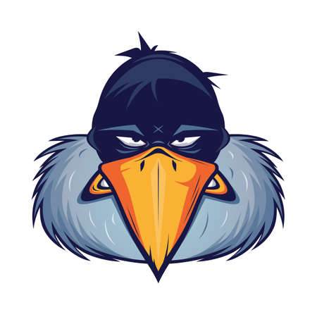 angry vulture head cartoon illustration